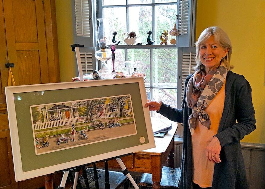 Carol Bonick with painting