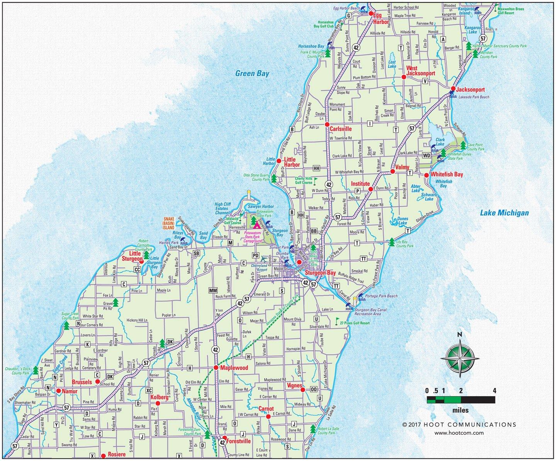 Door County Map - Lower