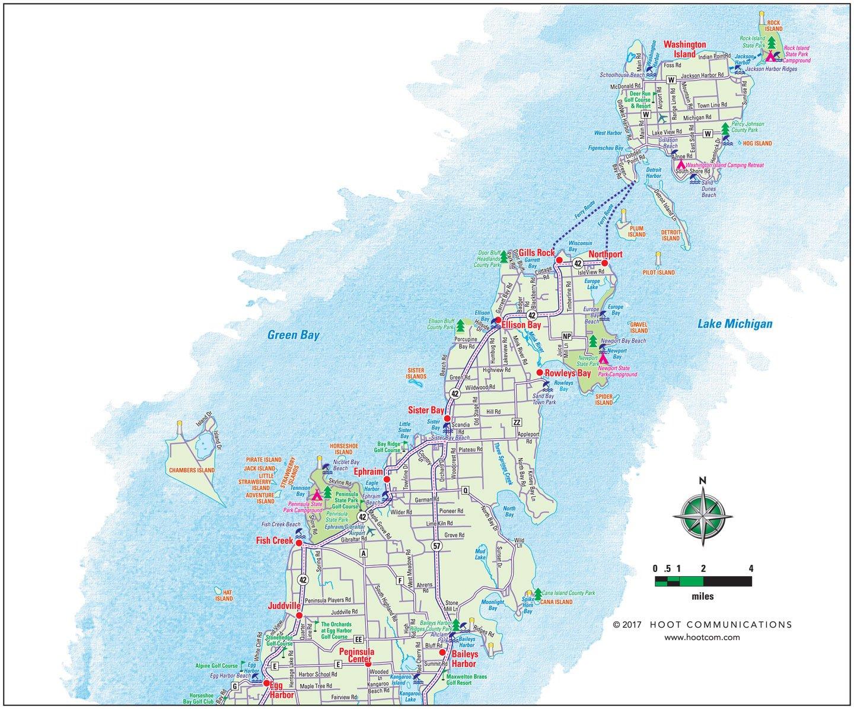 Door County Map - Upper